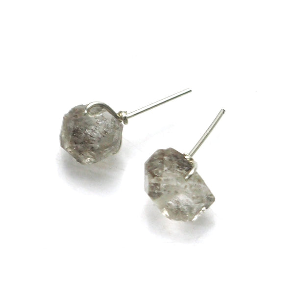 Herkimer Diamond Stud Earrings with Sterling Silver Earwires