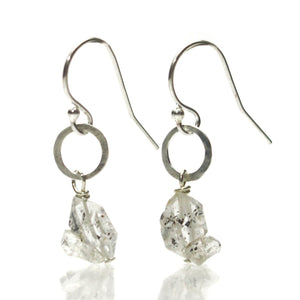 Herkimer Diamond Earrings with Sterling Silver Hand Hammered Jumpring with Sterling Silver Earwires