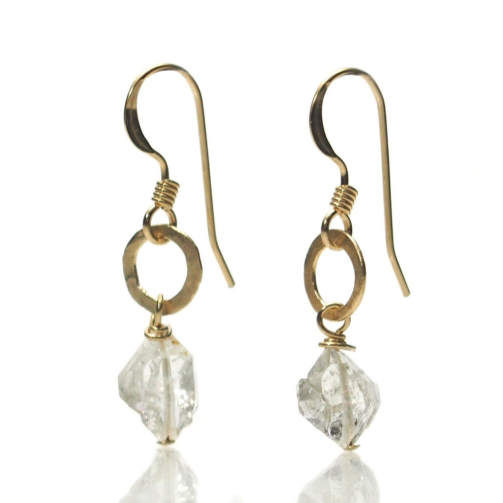 Herkimer Diamond Earrings with Gold Filled Hand Hammered Jumpring with Gold Filled Earwires