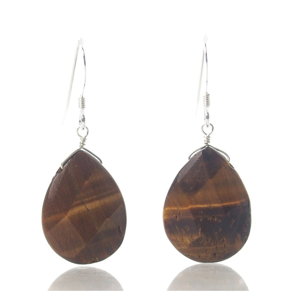 Tiger's Eye Earrings with Sterling Silver French Earwires