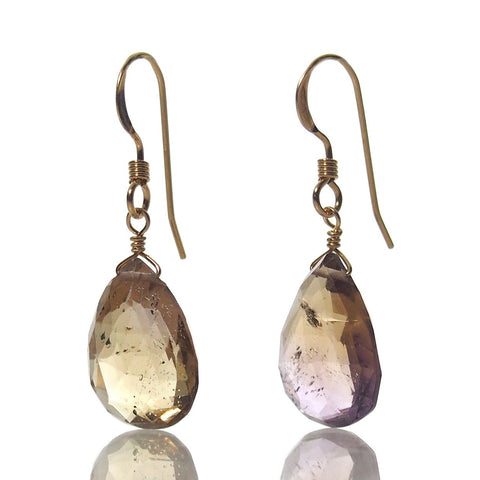 Ametrine Earrings with Gold Filled French Earwires