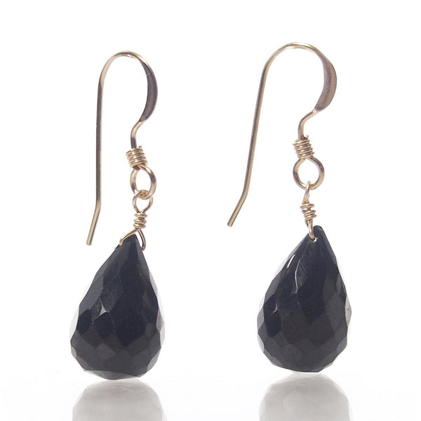 Black Spinel Teardrop Earrings with Gold Filled French Earwires