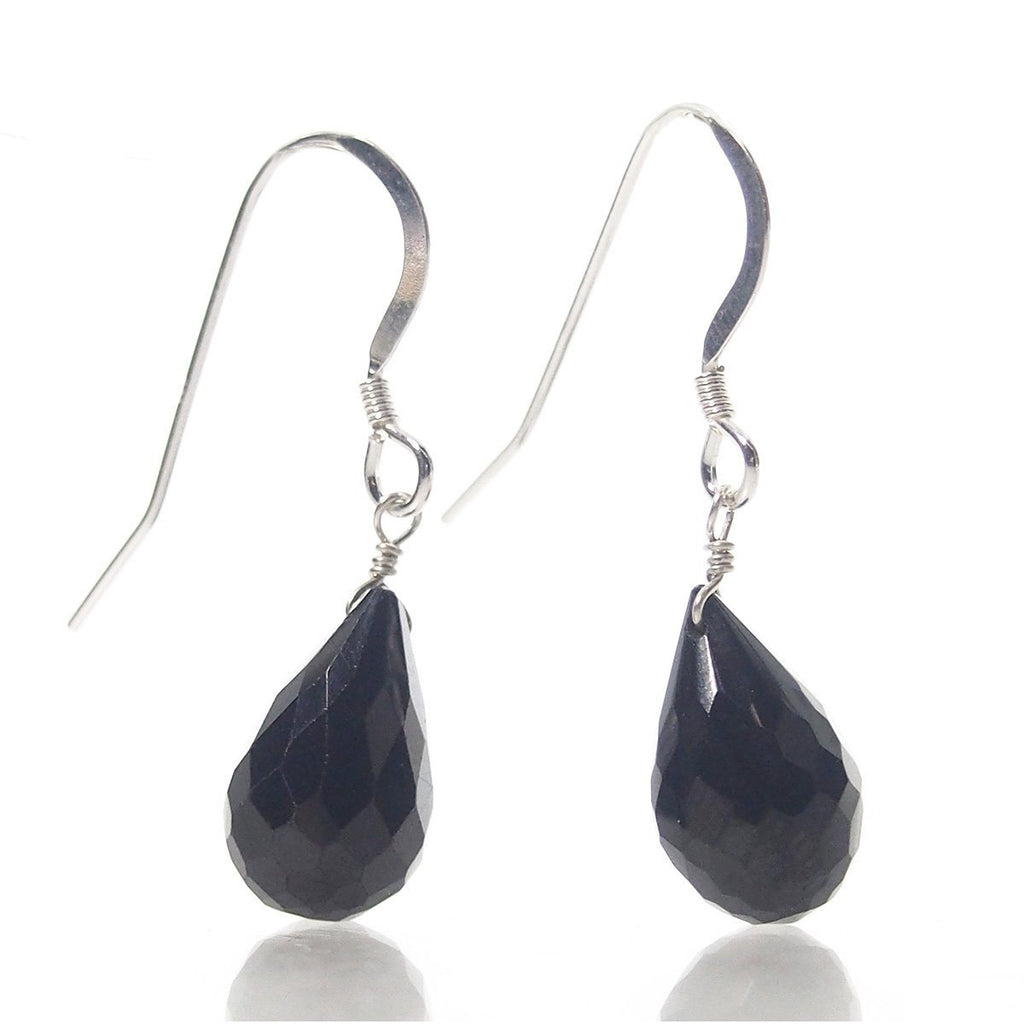Black Spinel Teardrop Earrings with Sterling Silver French Earwires