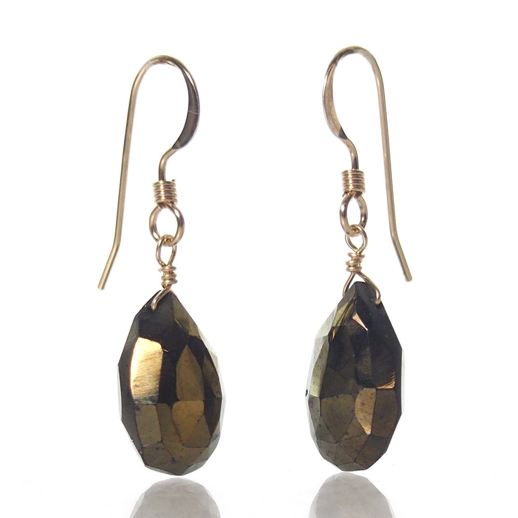 Pyrite (AB Finish) Earrings with Gold Filled French Earwires