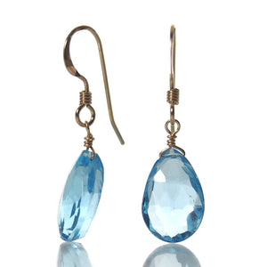 Swiss Blue Topaz Earrings with Gold Filled French Earwires