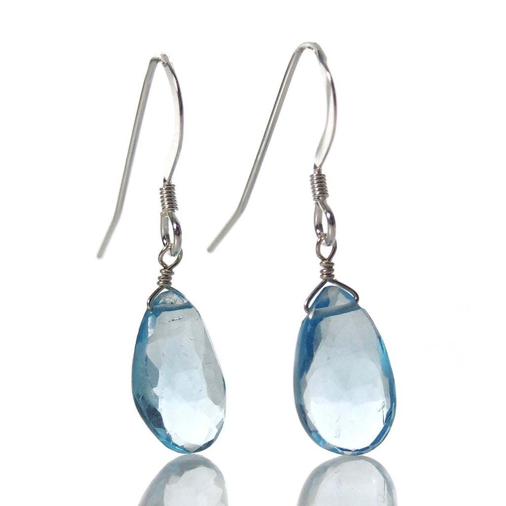 Swiss Blue Topaz Earrings with Sterling Silver French Earwires