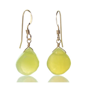Green Apple Chalcedony Earrings with Gold Filled French Earwires