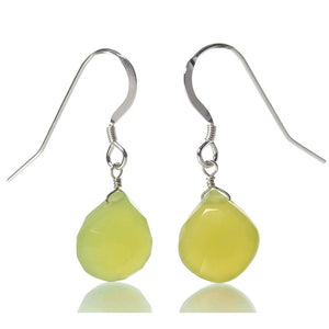 Green Apple Chalcedony Earrings with Sterling Silver French Earwires