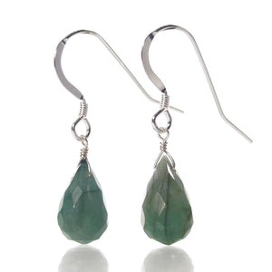Emerald Earrings with Sterling Silver French Earwires