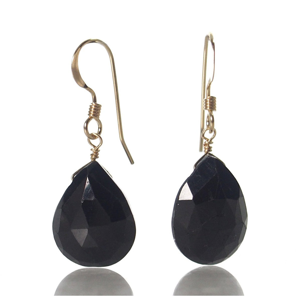 Black Spinel Earrings with Gold Filled French Earwires