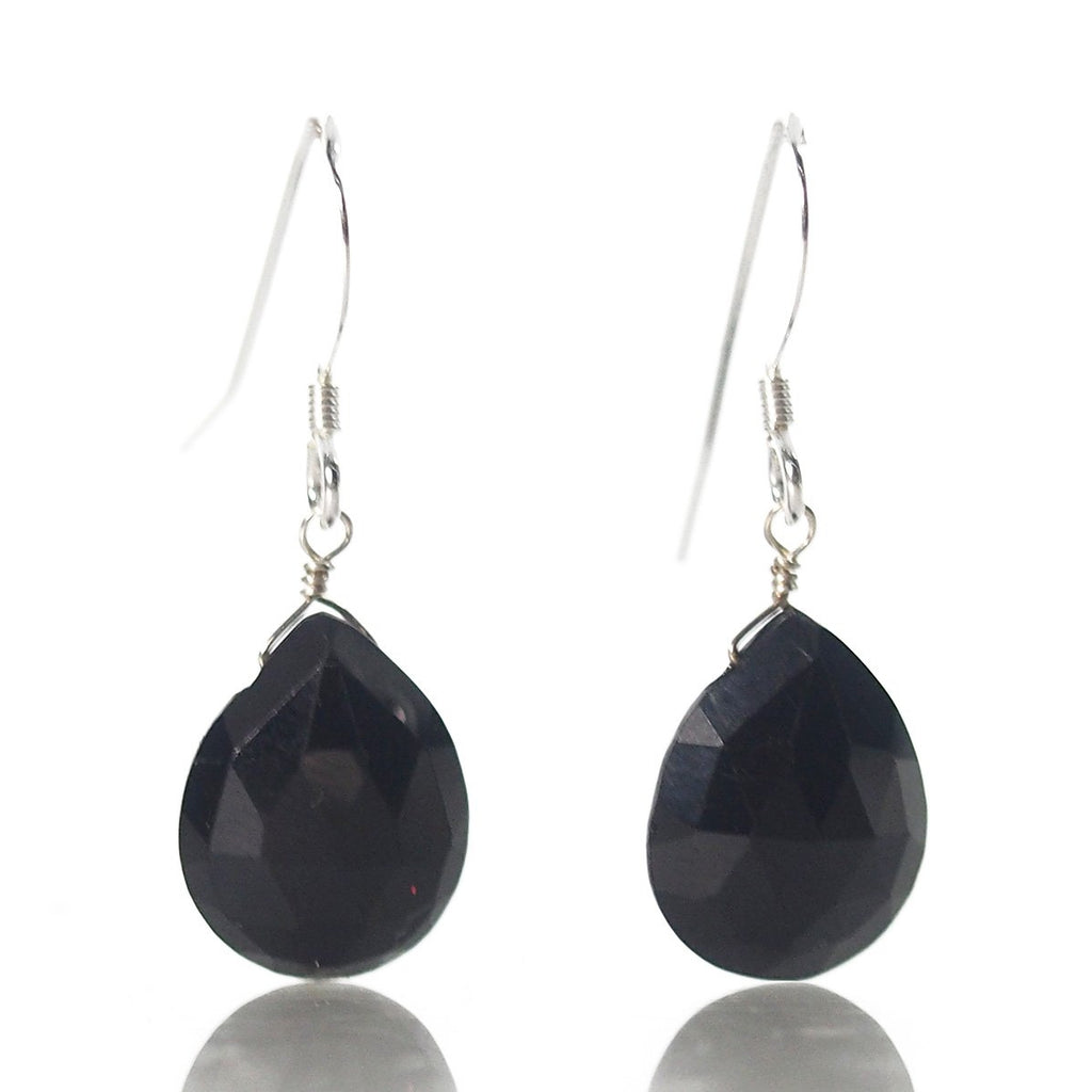 Black Spinel Earrings with Sterling Silver French Earwires