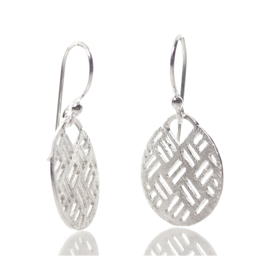 Sterling Silver Brushed Circle Cutout Earrings