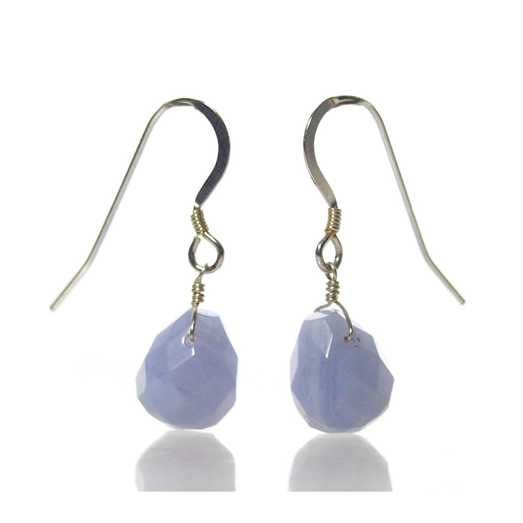 Blue Lace Agate Earrings with Sterling Silver French Earwires