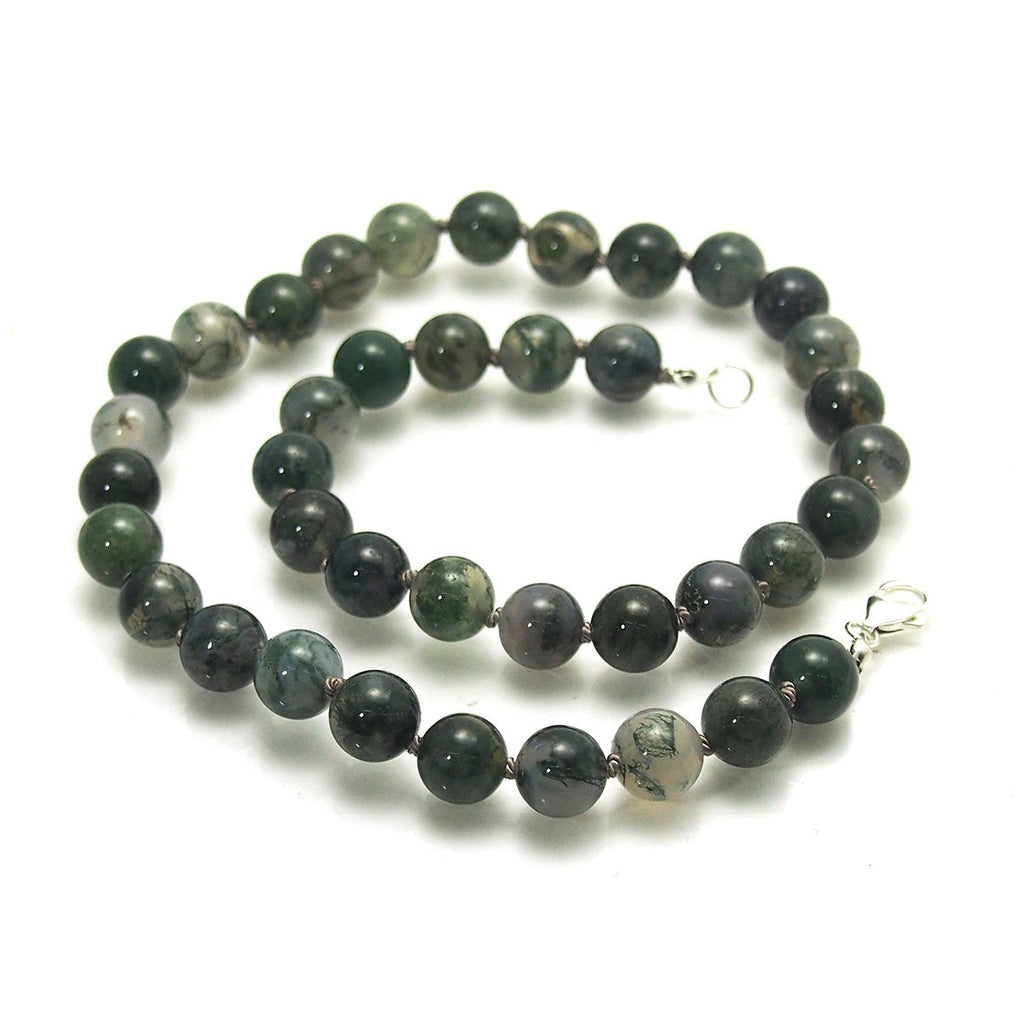 Moss Agate Knotted Necklace with Sterling Silver Trigger Clasp