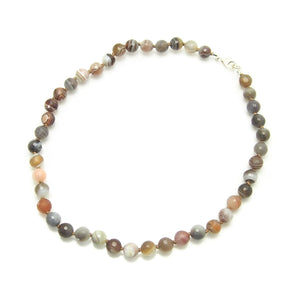 Botswana Agate Knotted Necklace with Sterling Silver Trigger Clasp 9mm