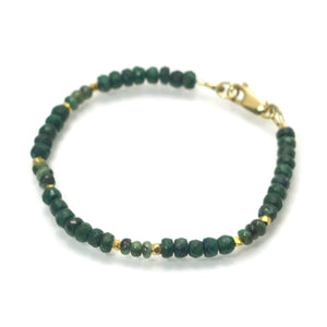 Emerald Faceted Bracelet with Gold Filled Lobster Claw Clasp