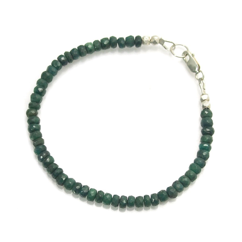Emerald Faceted Bracelet with Sterling Silver Lobster Claw Clasp