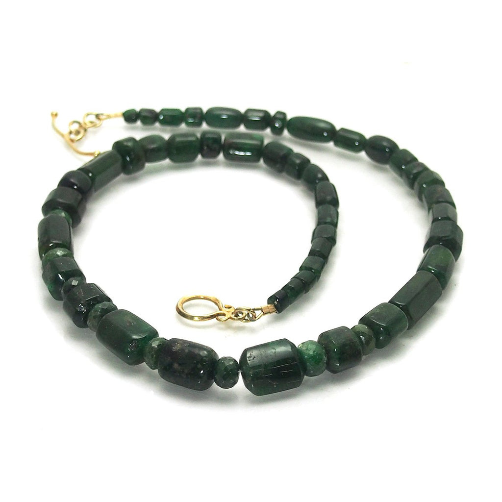 Emerald Necklace with Gold Plated Toggle Clasp