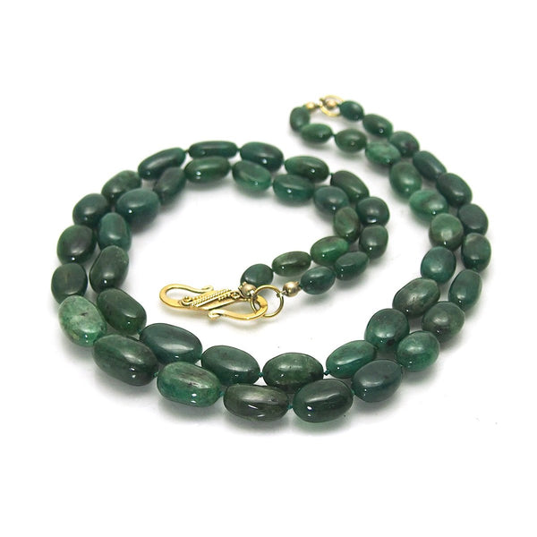 Double-Strand Emerald Necklace with Gold Plate S Hook Clasp