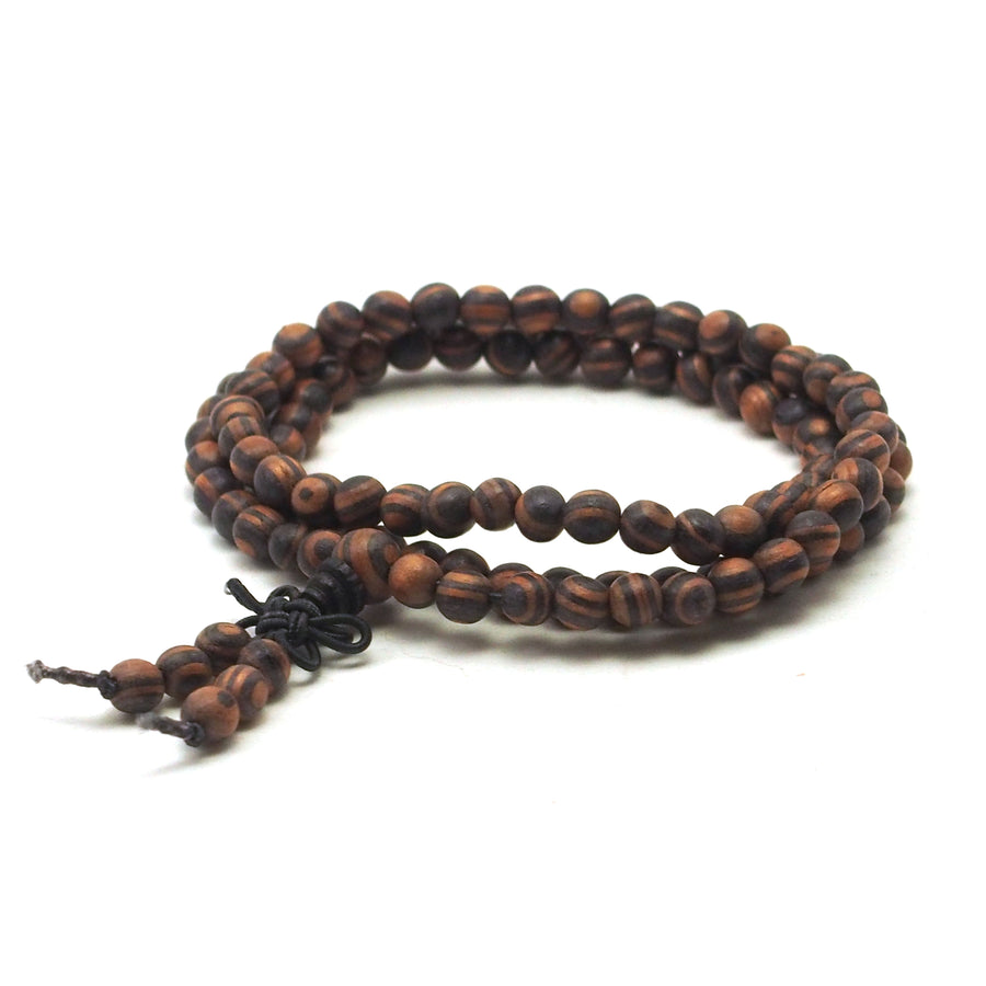 Zebra Rose Wood 6mm Mala