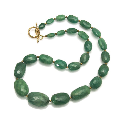 Emerald Necklace with Gold Filled Spiral Toggle Clasp