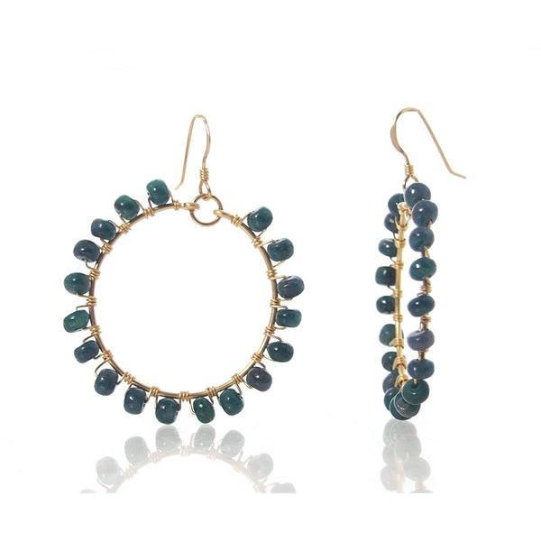 Emerald Earrings with Gold FIlled Earwires