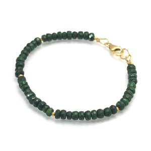 Emerald Bracelet and Gold Plate Accent Beads with Gold Filled Lobster Clasp