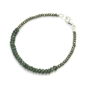 Emerald and Faceted Pyrite Bracelet with Sterling Silver Lobster Claw Clasp