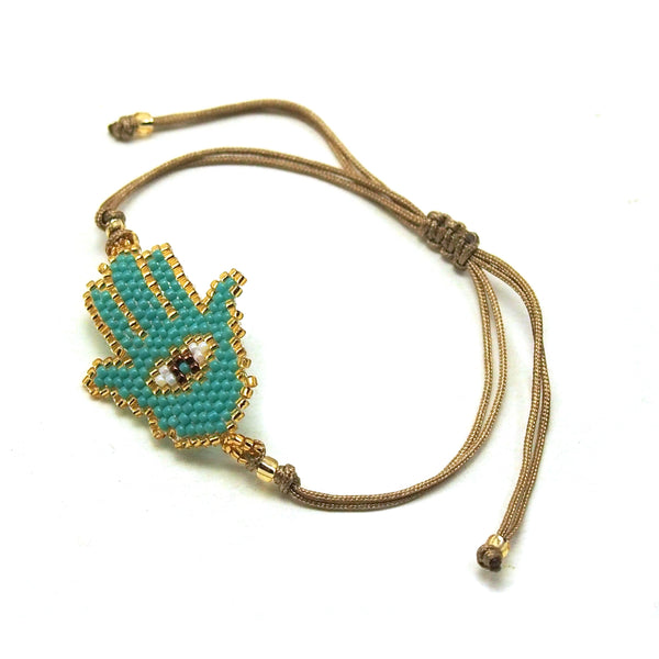 Hamsa (1) with Evil Eye Hand-Loomed Bracelet