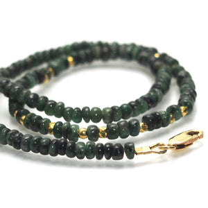 Emerald and Gold Plate Spacers Necklace with Gold Plate Lobster Claw Clasp
