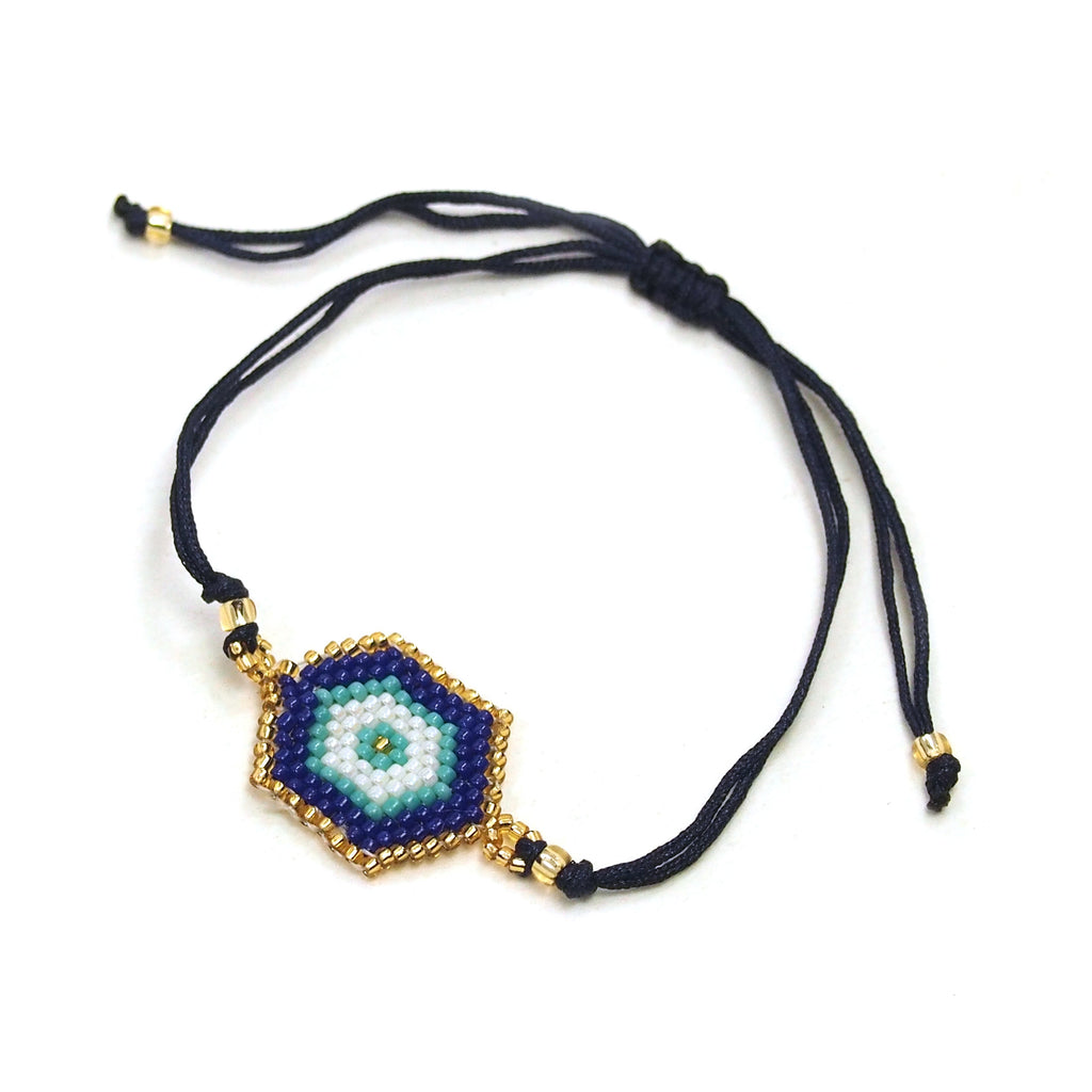 Hexagon Evil Eye Hand-Loomed Bracelet