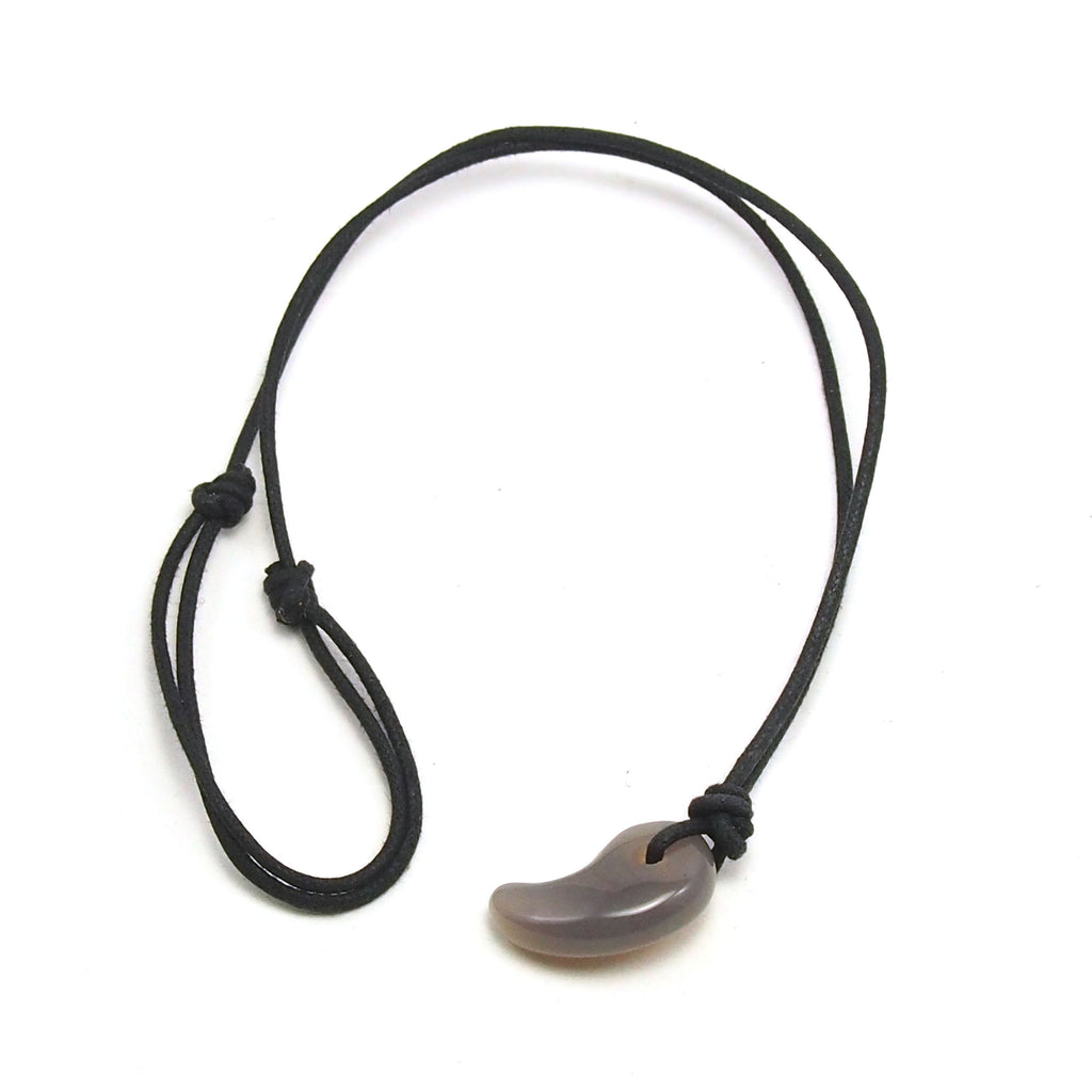 Grey Agate Magatama Necklace