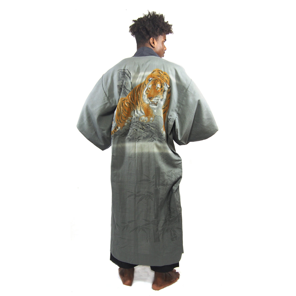 Vintage Silk Hand-Painted Tiger Full Length Kimono
