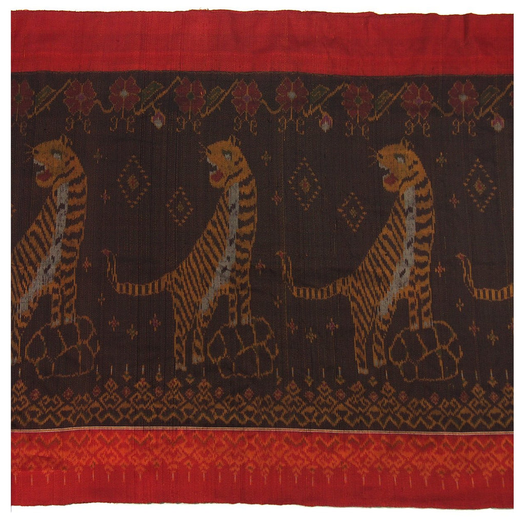 Ensemble 9: Important 100% Silk Hand Woven Tiger Ikat Heirloom Shawl 26 Foot Length from Thailand