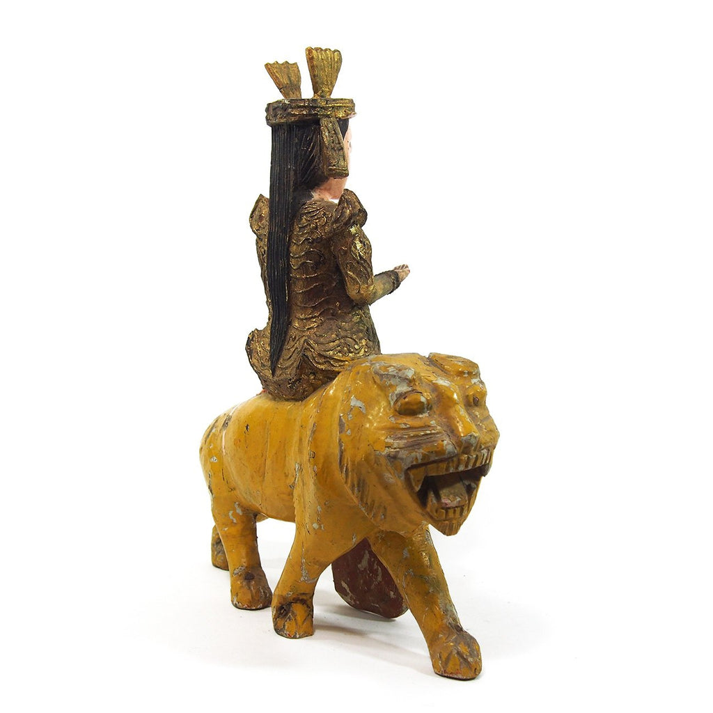 Goddess Durga on a Tiger Temple Guardian Figure from Burma 2