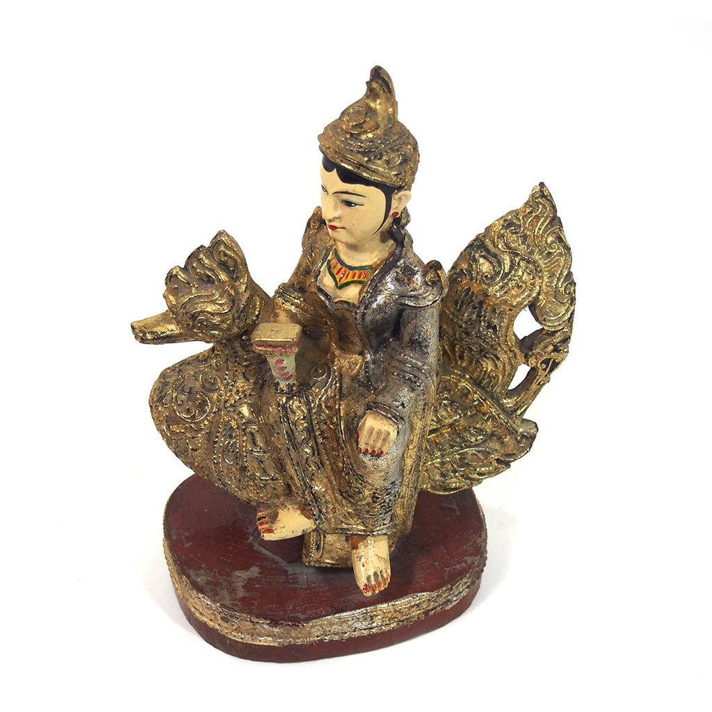 Saraswati Polychrome with Golden Leaf Large Figure from Burma known as Thurathadi Dewi