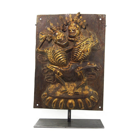 Chitipati Hand Hammered Brass Temple Icon Protector Deities XL
