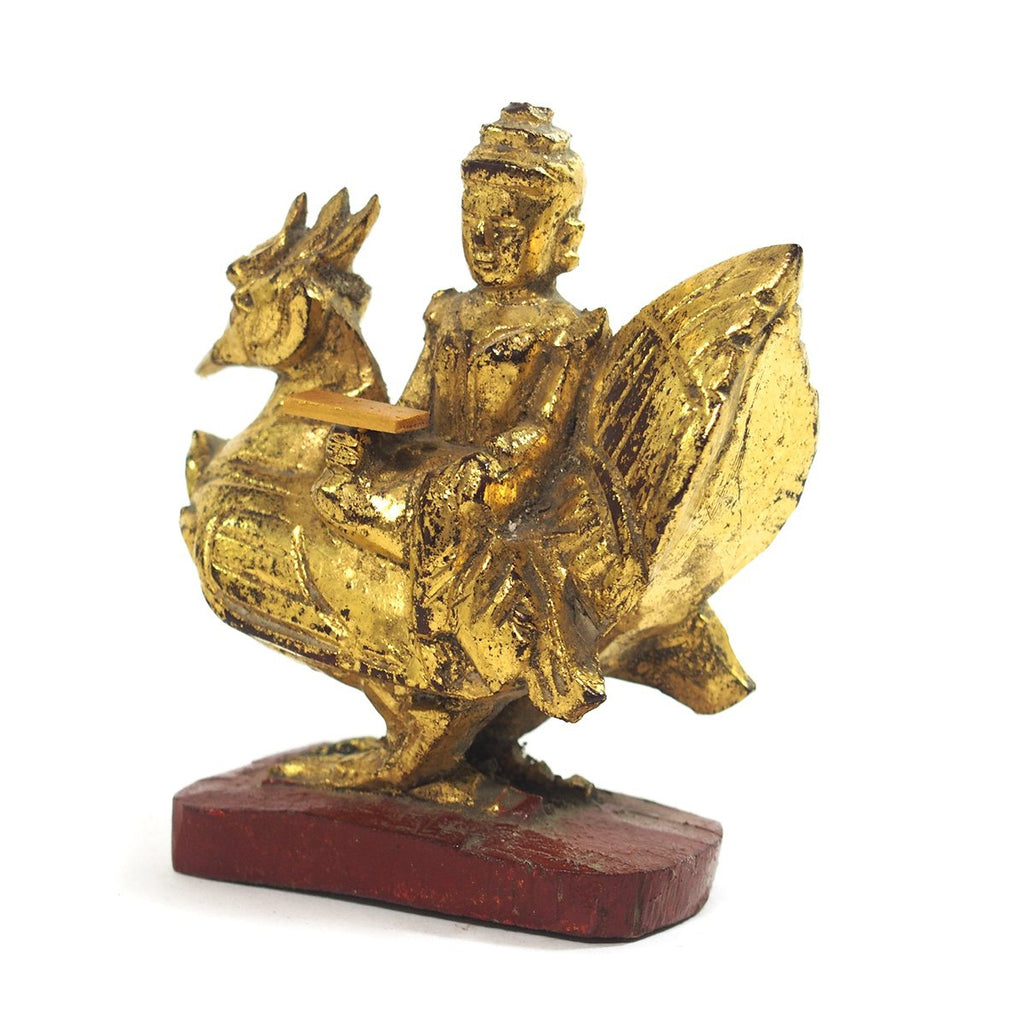 Saraswati Goddess Golden Leaf Figure Small from Burma known as Thurathadi Dewi