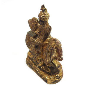 Saraswati Black Lacquer Golden Leaf Figure from Burma known as Thurathadi Dewi