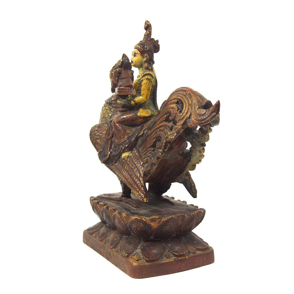 Saraswati Goddess Atop the Golden Swan Figure from Burma known as Thurathadi Dewi