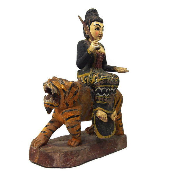 Goddess Durga on a Tiger Temple Guardian Figure from Burma 1