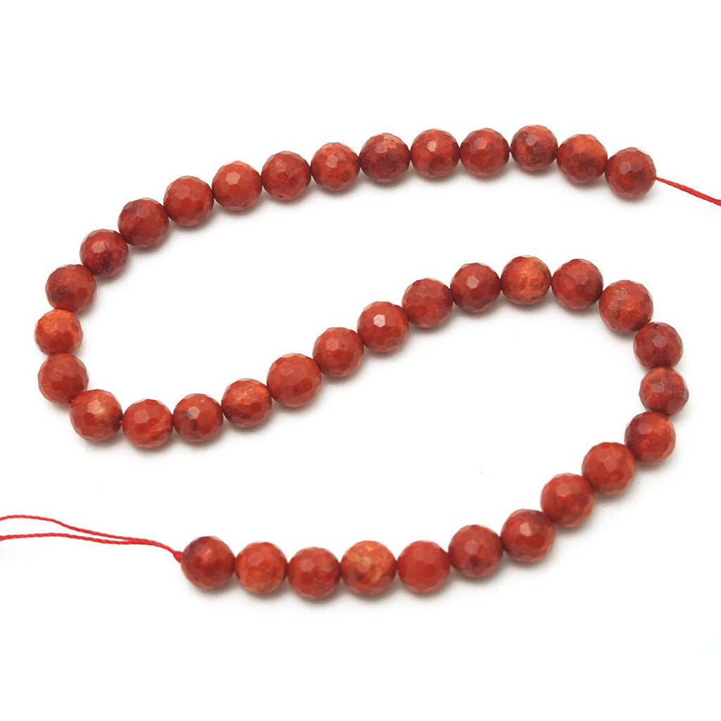 Coral (Sponge) Faceted Rounds 8mm, 10mm, 12mm Strand