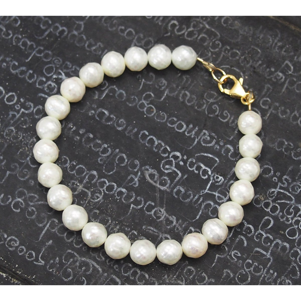 Faceted Fresh Water Pearl Bracelet with Gold Filled Trigger Clasp