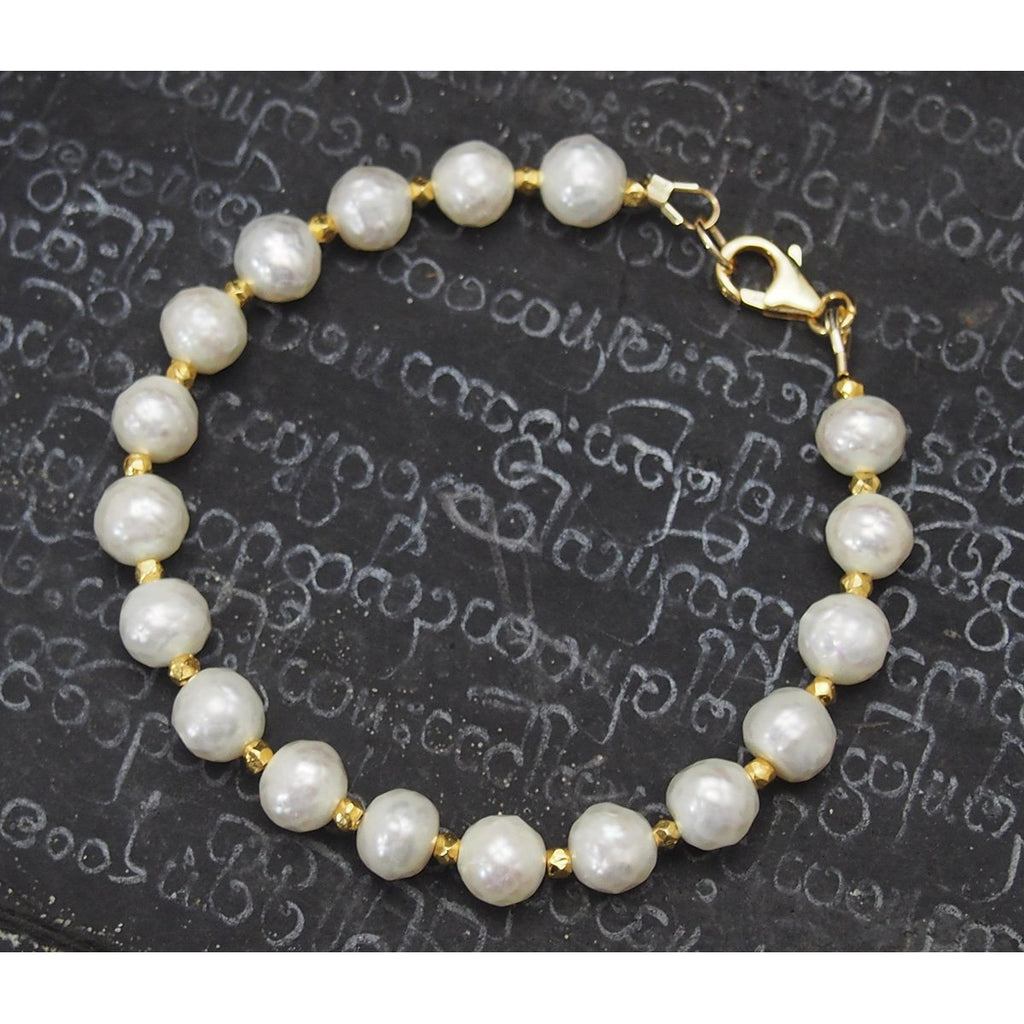 Faceted Fresh Water Pearl Bracelet with Gold Vermeil Spacer Beads with Gold Filled Trigger Clasp