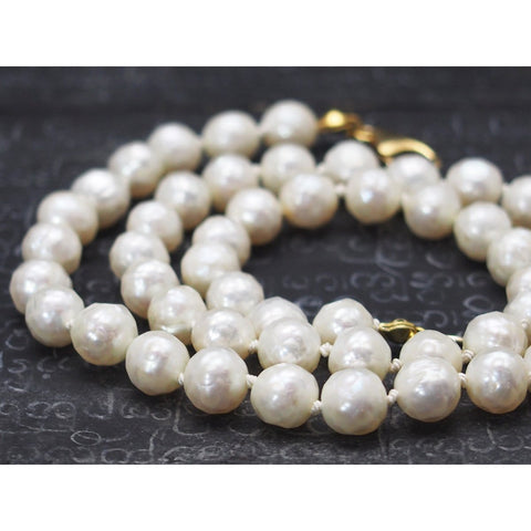 Fresh Water Pearl Knotted Necklace with Gold Filled Trigger Clasp