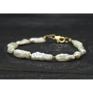 Fresh Water Pearl with Gold Plated Spacer Bead Bracelet with Gold Filled Trigger Clasp