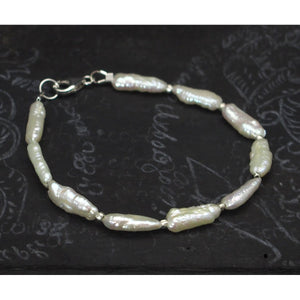 Fresh Water Pearl with Sterling Silver Spacer Bead Bracelet with Sterling Silver Trigger Clasp