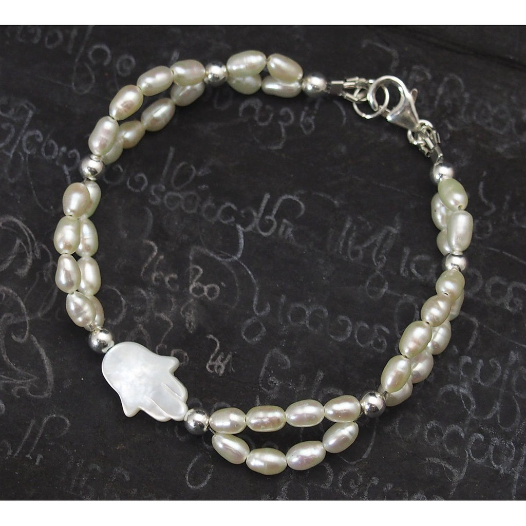 Fresh Water Pearl Bracelet with Sterling Silver Spacer Beads with Sterling Silver Trigger Clasp