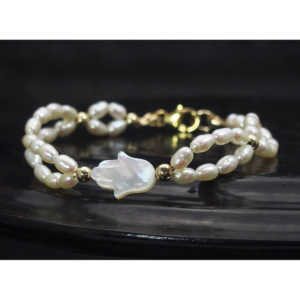 Fresh Water Pearl with Gold Filled Spacer Bead Bracelet with Gold Filled Trigger Clasp
