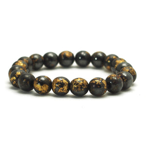 Gold Leafed Magnetic Hematite Stretch Bracelet
